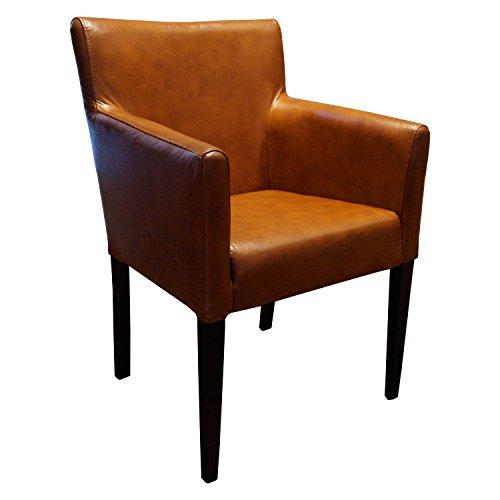 Quattro Meble Breite Echtleder Esszimmerstühle mit Armlehnen Kross Arm Stuhl Sessel Echt Leder stühle Lederstühle