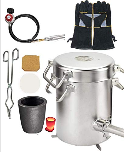 0-28LBS(12.8KGS) Gas/Propane Melting Furnace Kit,Stainless Steel 304, Up to 2600°F/1425°C, CRUCIBLE,TONGS Kiln ,Leather Gloves, smelting Gold,Silver,Copper,Aluminum,Metal Casting,Jewelry Casting Tool