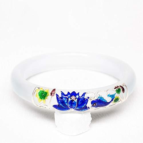 Luo Element chinesischer Stil weiß Jade Vintage Schmuck für Frauen Mädchen Chalcedon Sterling Silber Lotus Armband Cloisonne Craft Modern Fashion