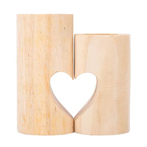 Winwinfly Bougeoirs pour bougies chauffe-plat, photophores en bois, mignons porte-bougies chauffe-plat en forme de coeur d'unité pour la décoration intérieure
