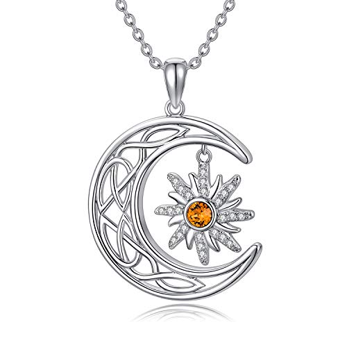 925 Sterling Silver Celtic Crescent Moon and Sun Sunburst Pendant Necklace with Citrine Austrian Crystal, November Birthstone Jewelry, Christmas Gift for Women Teen Girls