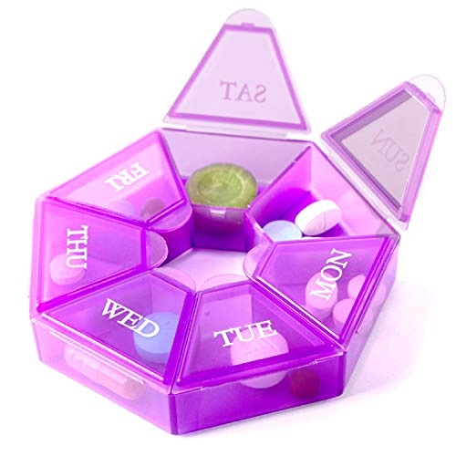 7-Sided Portable Pill Box Medicine Planner Small case (Seven Day Weekly Container) Medication, Vitamin Holder Boxes Organizer Pillbox Dispenser Organizer, sorter and Reminder containers (1unit)