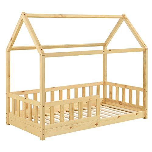 ArtLife Kinderbett Marli 80 x 160 cm mit Rausfallschutz, Lattenrost und Dach - Hausbett für Kinder aus Massivholz - Bett in Natur
