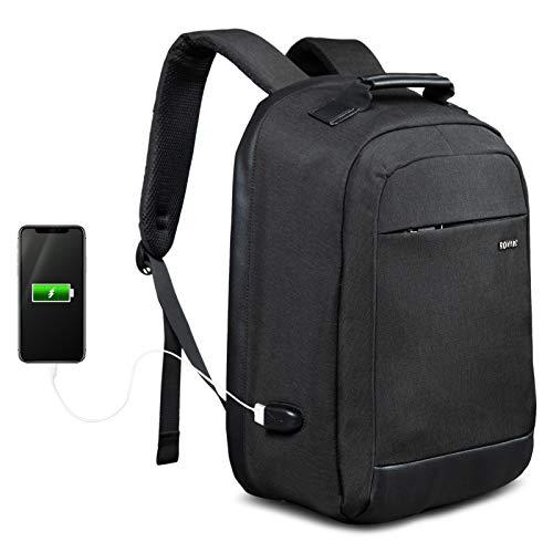 ROYALZ Laptop Rucksack 15,6 Zoll für Herren schwarz mit USB Business Schule Uni Check-in 180 Grad Öffnung versteckter Reißverschluss