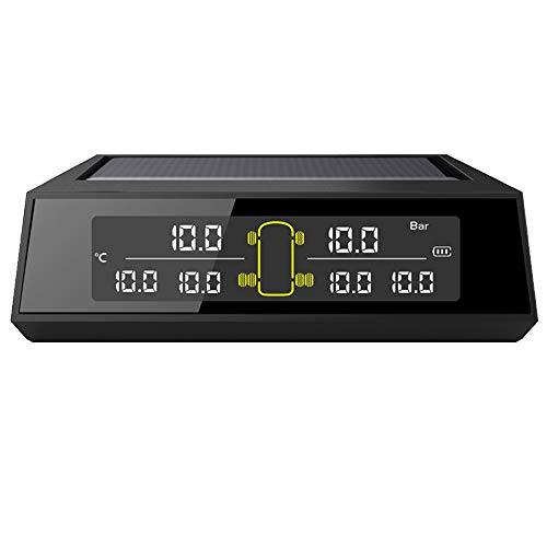 Fesjoy Reifendruck-Kontrollsystem, Car Truck TPMS Reifendrucküberwachungssystem Car Wireless Solar Charging Alarmsystem Spannungsregelsystem mit 6 externen Sensoren Austauschbare Batterie LCD-Anzei