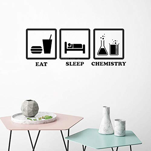 yiyiyaya Wissenschaft Kunst Eat Sleep Chemie Piktogramm Vinyl Wall Decal Lehrer pädagogische abnehmbare Wandaufkleber Teen weiß 30X80 cm