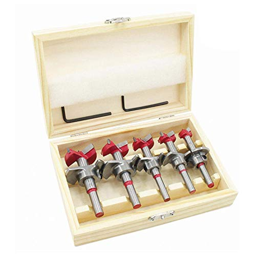 flintronic Fresas Set, 5 PCS Juego de Brocas de Posicionamiento Ajustable (15~35 mm), Orificio para Carpintería Cementada Sierra con Taladro de Profundidad (Rango de Profundidad 10~40 mm)