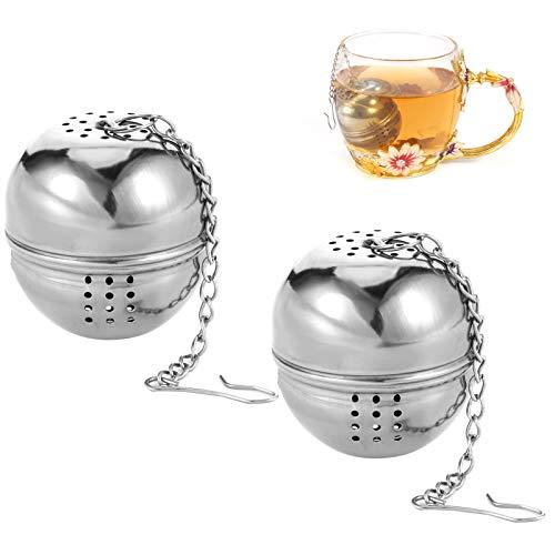 metagio 2 Stück Teefilter 4 cm Teeei Tee Sieb, Teesieb mit Kette Edelstahl, Teesieb für losen Tee und Mulling Gewürze, für Meisten Teekanne Tee-Tassen Tee-Schalen
