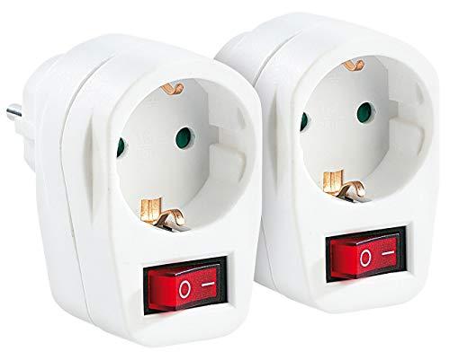 revolt Steckdosenschalter: 2er-Set Stromspar-Steckeradapter mit Netzschalter für 230-V-Geräte (Steckerschalter)