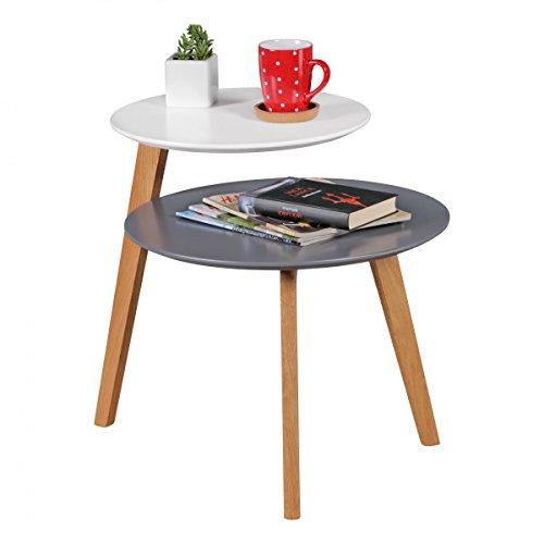 Table Basse rétro SCANIO scandinave avec 2 étagères Blanc Gris | Table d'appoint Design en Bois 61x61x56cm | Mat Peint Salon de Table en Bois
