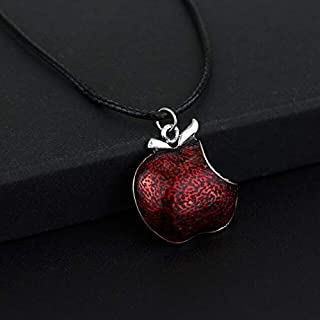 Davitu 1Pcs One Bite Red Poison Apple Pendants Necklace Once Upon a Time Necklace Regina Mills Necklace Collar Women Accessories Gifts - (Metal Color: Black)