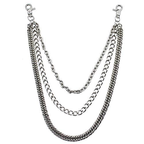 JaneYi (1 Stück) Hosenkette Gothic Rock Hip-Hop Punk Jeans Kette Mode Hose Kette Metall Brieftasche Kette Gürtelkette 3-in-1 Schlüsselanhänger für Männer und Frauen Silber