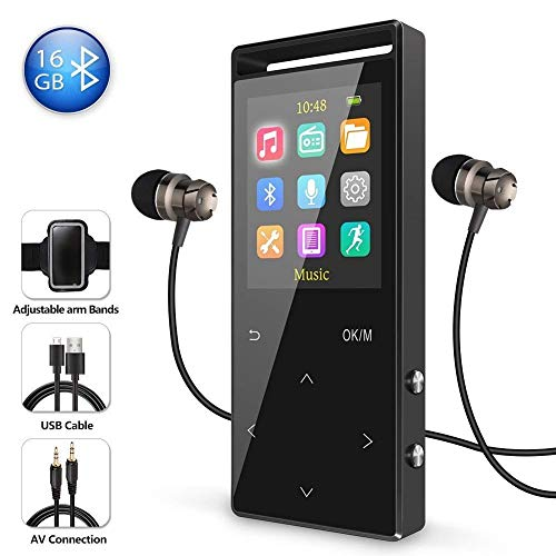 16GB Bluetooth MP3 Player with FM Radio/Voice Recorder, 60 Hours Playback, Lossless Sound,Metal...