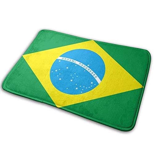 ACYKM 3D gedruckte Türmatte Rutschfester Dicker Memory-Schaum Brasilianische Flagge Grüne Fußmatte Wasserabsorbierende Bodenmatte Eingangsteppich Maschinenwaschbare Badematte Geschenk-40x60cm