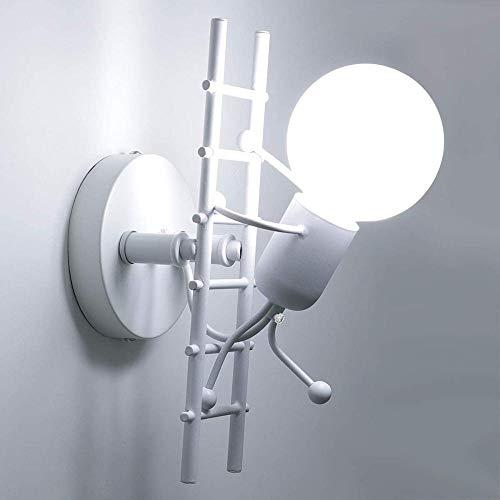 Lámpara De Pared Creativa Lámpara De Pared Interior Lámpara De Pared Moderna Lámpara Art Deco De Hierro Para Dormitorio, Habitación Infantil, Pasillo, Restaurante, Escalera E27-Blanco