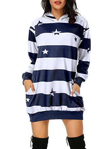 Auxo Mujer Sudaderas con Capucha Largas Tallas Grandes Vestidos Sudadera Hoodie Estampado Raya Manga Larga Casual Jersey 06-Azul 3XL