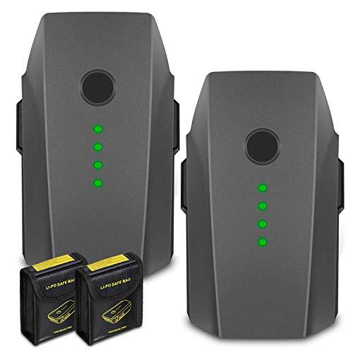 KUNLUN 2 Pack 11.4V 3830mAh Mavic Pro Battery for DJI Mavic Pro, Mavic Pro Platinum, Mavic Pro Alpine White Drone with 2 Battery Safe Bags