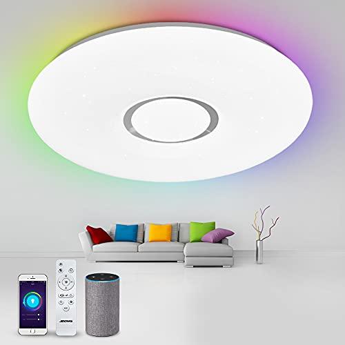 Lámpara de techo LED Alexa, 40 cm, Smart WiFi, lámpara regulable (RGB + frío hasta blanco cálido 3000 – 6500 K), controlable mediante aplicación, compatible con Alexa