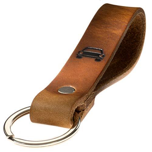 LIEBHARDT nachhaltig Geschenk aus pflanzlich gegerbtem Leder Schlüsselanhänger mit Spruch für deinen Lieblingsmensch ob Frau oder Mann Handmade in Germany (Auto - Symbol)