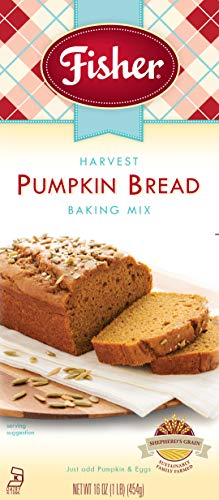 Fisher All Natural Harvest Pumpkin Bread Mix, 16 Ounces, Pack of 3