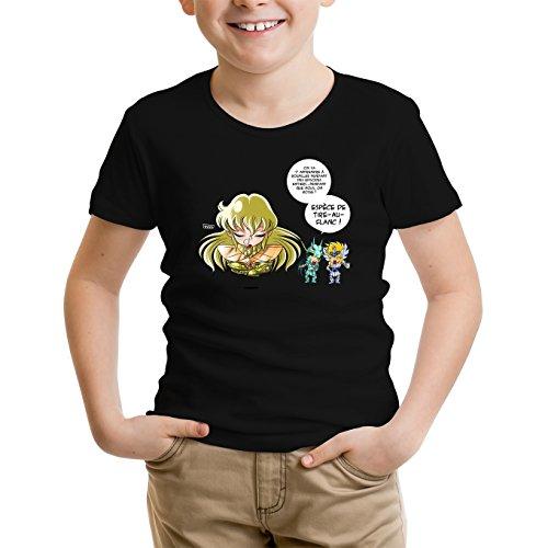 Okiwoki T-Shirt Enfant Noir Saint Seiya parodique Shiryu du Dragon, Hyoga du Cygne et Shaka : La Technique Interdite: Le Roupillon du Lotus !! (Parodie Saint Seiya)