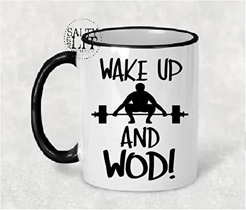 Taza de WOD WOD con texto en inglés'Crossfit WOD Mug Crossfit', taza de café, taza de crossfit, taza de fitness, levantamiento de pesas, taza de café, taza de café
