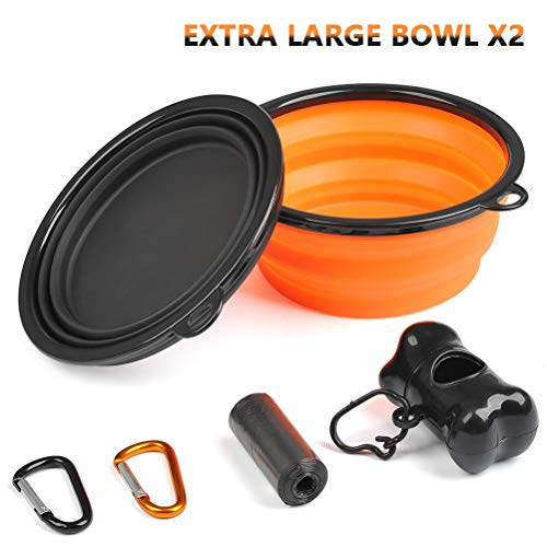 BUYGOO 2pcs Extra Grande 1000 ML Cuenco para Mascotas Plegable Portatil Cuenco de Agua para Perros para Vieje/Camping/Camina