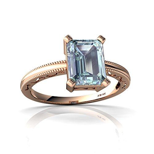 14kt Rose Gold Aquamarine 8x6mm Emerald_Cut Milgrain Scroll Ring - Size 4