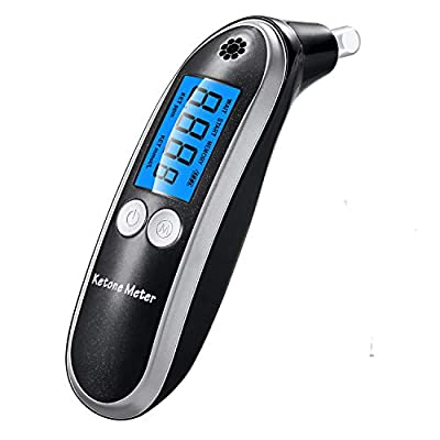 Ketone Meter, Digital Ketone Breath Analyzer, Professional Portable Ketone Breath Tester with 10 Mouthpieces for Personal Use