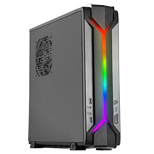 SilverStone Technology Slim Computer Case for Mini-Itx Motherboards with Integrated Addressable RGB Lighting (SST-RVZ03B-ARGB-USA)