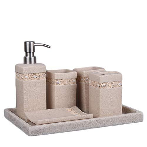 LOVELY Simples Baño Set de Accesorios, Piedra de la Arena de baño Set de Accesorios, Incluyendo Cepillo de Dientes Titular, dispensador de jabón, jabón de Pelo, Enjuague bucal Copa