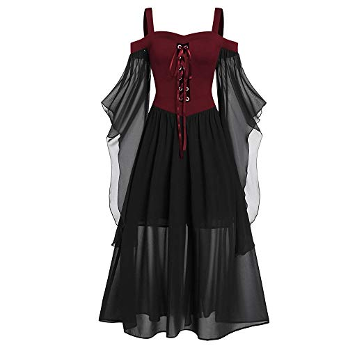 Aiserkly Damen Halloween Kleid Plus Size Cold Shoulder Gothic Kleid mit Schmetterlingsärmeln Hexenkostüm Mittelalter Renaissance Kostüm Cosplay Karneval Fasching Rot 2XL