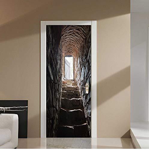 Door stickers door decals,Self-Adhesive Waterproof Wallpaper Stereo Stairs Photo Wall Mural Door Sticker Living Room Personality Home 3D Decor Sticker