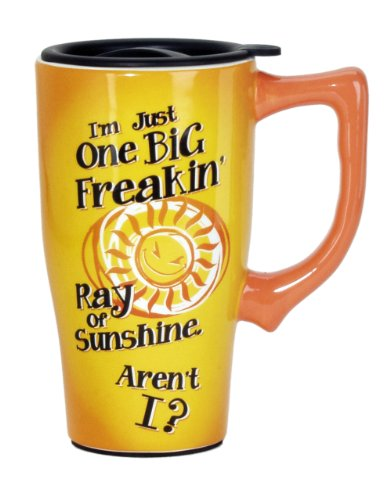Spoontiques Big Ray of Sunshine Travel Mug, Yellow by Spoontiques