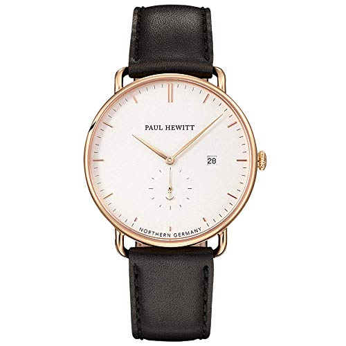 PAUL HEWITT Armbanduhr Edelstahl Grand Atlantic Line White Sand (Damen und Herren) - Uhr mit Lederarmband (Schwarz), Goldene Armbanduhr, weißes Ziffernblatt