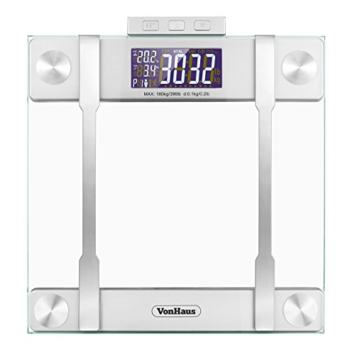 VonHaus Body Fat Scales 400lb Weight Capacity, Hydration Monitor,...