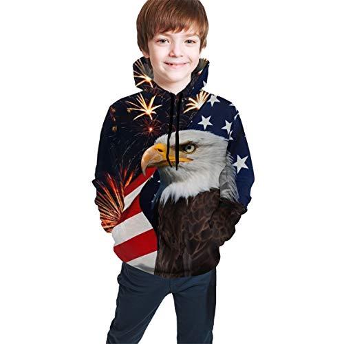 Hip-Hop Pullover Hooded Sweatshirts for Boys Girls Teens Junior, Long Sleeves Bald Eagle American Flag Fireworks Pattern Hoodie Fitted 3D Pattern Print Tops