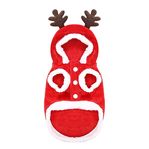 Watonic Costumes Christmas Hoodies Elk Santa Claus Flannel Warm Cat and Dog Clothes for Smart Dog (Redback Length 15.75')