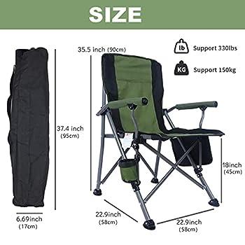 Chaise de Camping Pliable Charge Maximale 330 lbs,Chaise Pliante Confortable,Fauteuil de Peche Portable avec Porte-Boisson et Sac de Transport,Vert