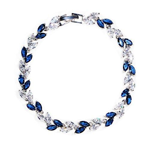 Me&Hz Blue Crystal Thin Bracelet Silver Plated Sapphire Birthstone Wedding Bangle Bracelet for Women Girls