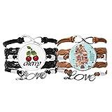 Bestchong Lot de 2 bracelets à main en cuir avec motif cart