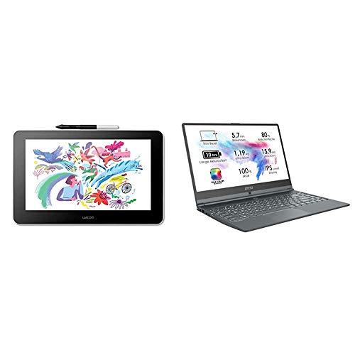 Wacom One Creative Pen Display mit Gratissoftware zum Skizzieren/Zeichnen (13,3 Zoll, Full HD, Stiftpräzision) + Modern 14 A10M-615, Laptop (Intel Core i5-10210U, 8GB RAM, 512GB PCIe SSD) Carbon-grau