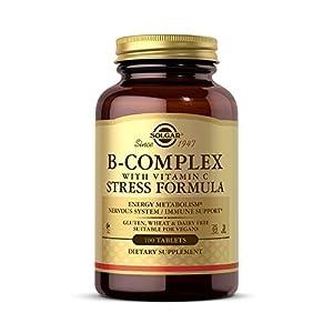 Solgar® Vitamina B-Complex con Vitamina C para la producción de energía y apoyo al sistema inmunitario - 100 comprimidos