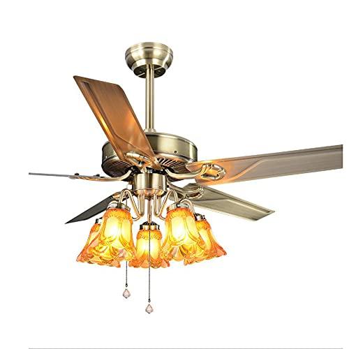 Ventilatore da soffitto Illuminazione con telecomando,Ventilatore da soffitto retromarcia industriale a gabbia a 3 colori con velocità del vento regolabile muto a 3 velocità,Per camera da letto Sala