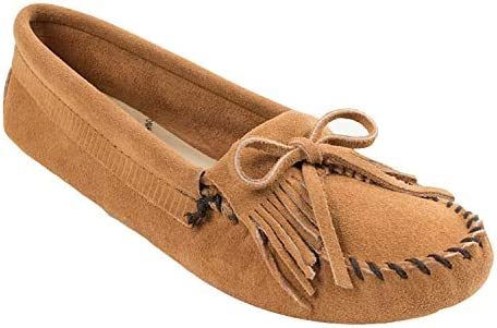 Minnetonka Women s Kilty Suede Softsole Moccasin Taupe 8 M US product image