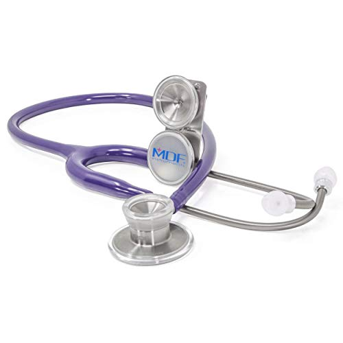 MDF MD One Epoch Lightweight Titanium Stethoscope, Adult, Pediatric, Free-Parts-for-Life, Purple Tube, Silver Chestpieces-Headset, MDF777DT08