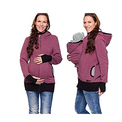 Baby Carrier Hoodies Mäntel 2 In 1 Frauen Mutterschaft Sweat-Shirts Fleece Känguru-Tasche Tragejacke Känguru Jacke für Mama und Baby Umstandswinterjacke Babyeinsatz Winter Tragejacke Violett M
