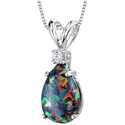 Peora Created Black Opal with Genuine Diamond Pendant in 14K White Gold, Elegant Teardrop Solitaire, Pear Shape, 10x7mm, 1 Carat total