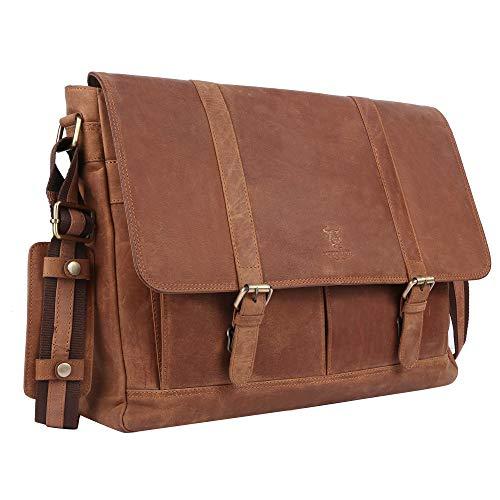 MATADOR® Echtleder Laptoptasche Umhängetasche für Notebook Laptop 17 Zoll Leder Aktentasche Business Notebooktasche Groß
