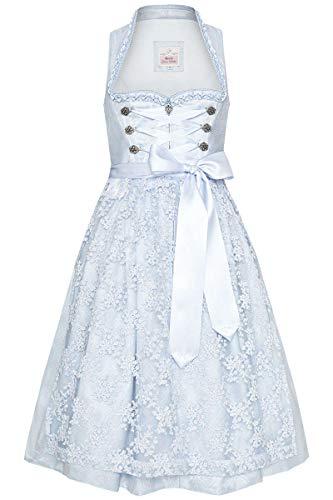 MarJo Damen Midi Dirndl mit Schneewittchenkragen hellblau, HELLBLAU, 34